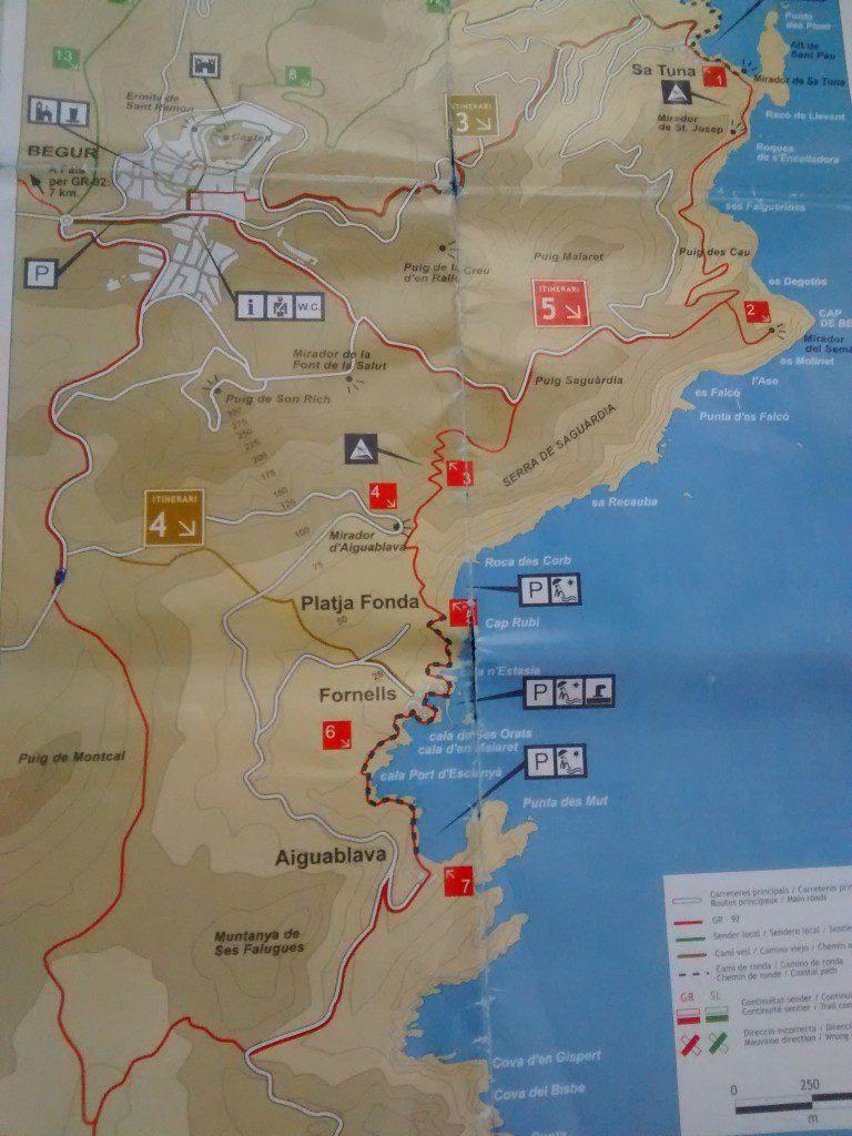 mapa ruta calas begur