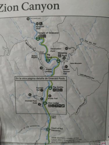 mapa zion canyon