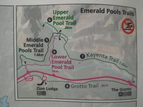 mapa zion emerald pools